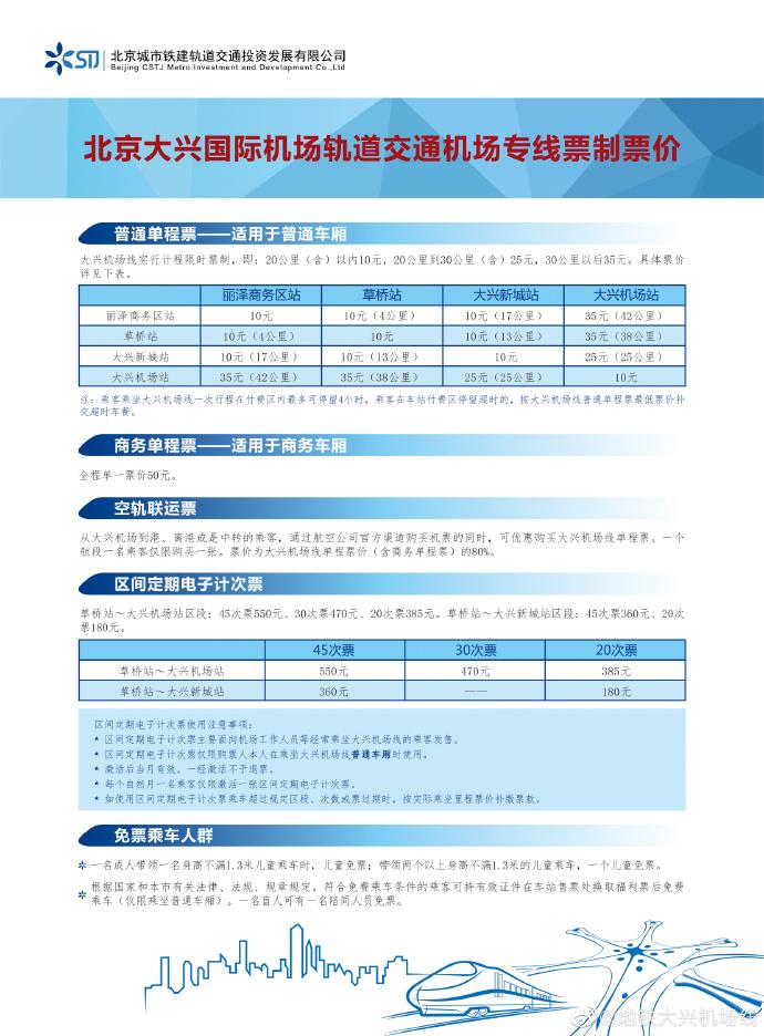 北京大兴国际机场线票价方案正式启用 最低10元