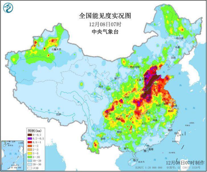 大雾黄色预警持续发布 华北黄淮小心霾伏