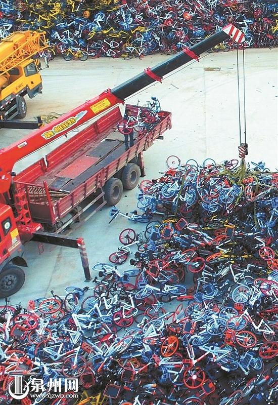 厦门清理过剩共享单车 堆积如山叹为观止