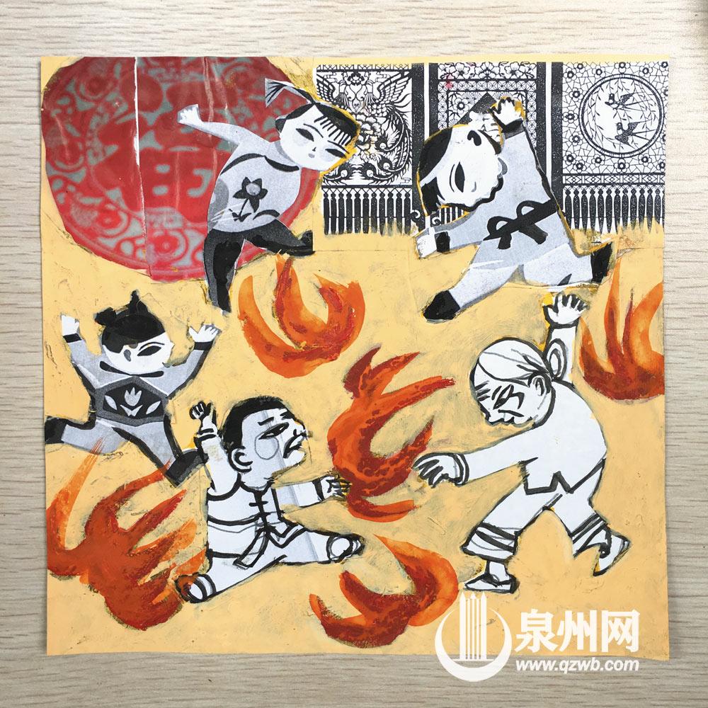 闽南年兜(过年)跳火盆习俗插画 (许文龙 摄)