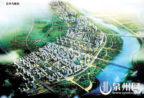 两岸综合开发,滨江新城蓝图渐展.图为总体鸟瞰图-滨江新城展露秀